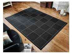 Checked Flatweave Black Rug 02 Roomshot