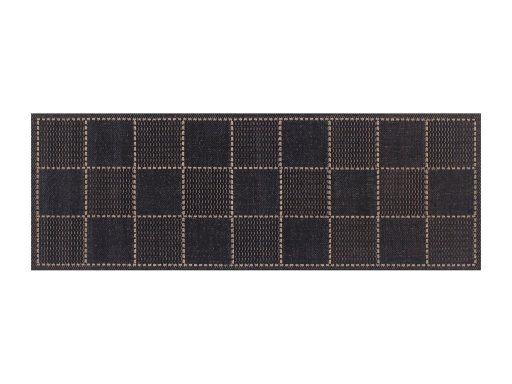Checked Flatweave Black Rug 20 Runner