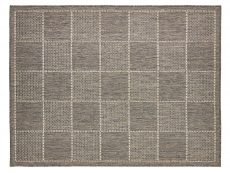 Checked Flatweave Grey Rug 01 Overhead