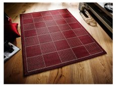 Checked Flatweave Red Rug 02 Roomshot