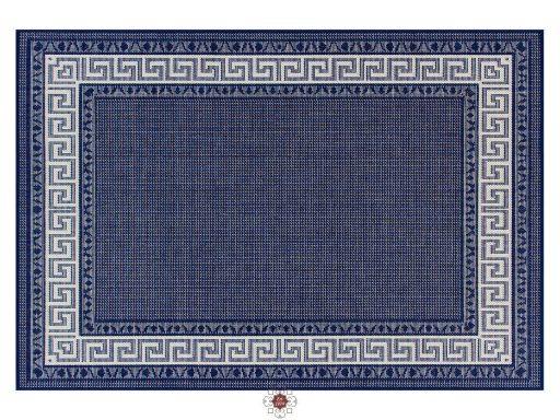 Greek Key Flatweave Blue Rug 01 Overhead