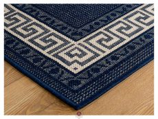 Greek Key Flatweave Blue Rug 10 Detail