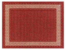 Greek Key Flatweave Red Rug 01 Overhead