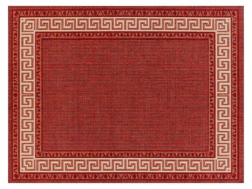 Greek Key Flatweave Red Rug 01 Overhead