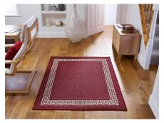 Greek Key Flatweave Red Rug 02 Roomshot