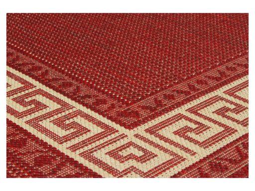 Greek Key Flatweave Red Rug 11 Detail