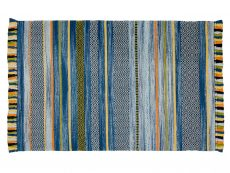 Kelim Stripe Blue Rug 01 Overhead