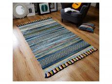 Kelim Stripe Blue Rug 02 Roomshot