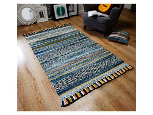 Kelim Stripe Blue Rug 02 Roomshot