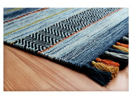 Kelim Stripe Blue Rug 10 Detail