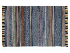 Kelim Stripe Charcoal Rug 01 Overhead