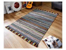 Kelim Stripe Charcoal Rug 02 Roomshot