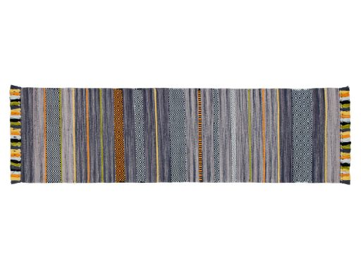 Kelim Stripe Charcoal Rug 20 Runner
