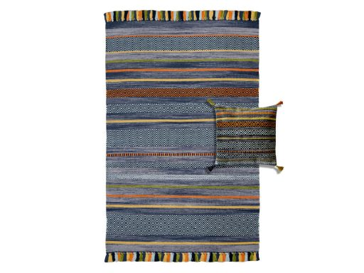 Kelim Stripe Charcoal Rug 60 Set