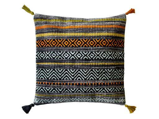 Kelim Stripe Charcoal Rug 61 Cushion