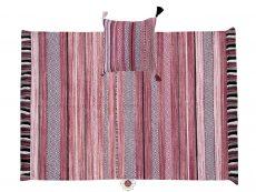 Kelim Stripe Pink Rug 01 Overhead