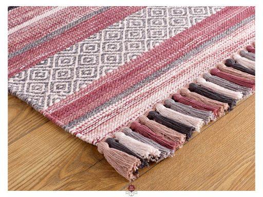 Kelim Stripe Pink Rug 10 Detail