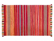 Kelim Stripe Red Rug 01 Overhead
