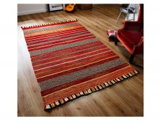 Kelim Stripe Red Rug 02 Roomshot