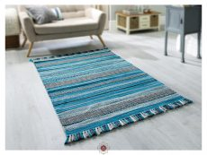 Kelim Stripe Teal Rug 02 Roomshot