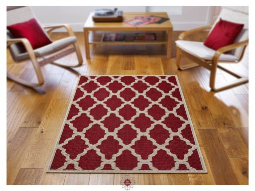 Moda Trellis Red Rugs 02 Roomshot