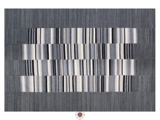 Navajo Stripe Grey Rugs 01 Overhead