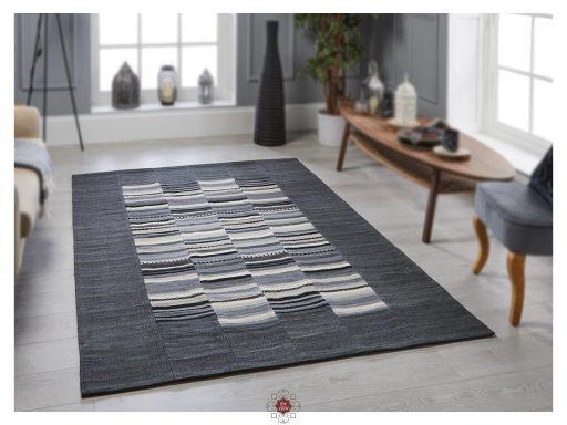 Navajo Stripe Grey Rugs 02 Roomshot