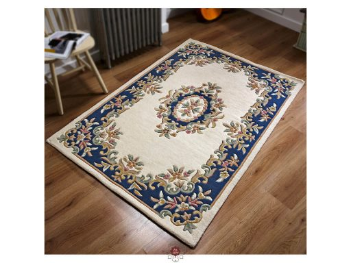 Royal Cream Blue Rug 02 Roomshot
