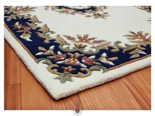 Royal Cream Blue Rug 10 Detail