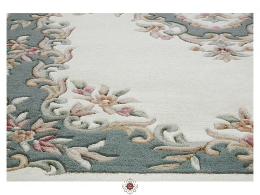 Royal Cream Green Rug 10 Detail